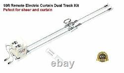 10ft Dual Remote Controlled Motorized Electric Traverse Curtain Drapery Track