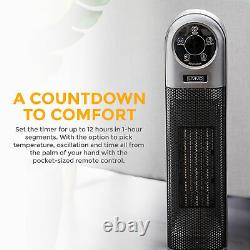 2000W Electric 90° Oscillating Ceramic PTC Tower Fan Heater Digital Timer Remote