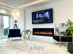 2020 60 Inch Wide Led White/black Glass Wall Flushed Electric Fire 10 Colours