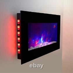 2020 Truflame 7 Colour Led Black Glass Flat Electric Wall Mounted Fire