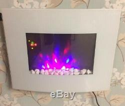 2020 Truflame 7 Colour Led White Glass Arched Electric Wall Mounted Fire 66cm