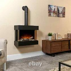 24 Electric Fire Wall Mounted Black Home Decor Metal 3D LED Flame Logs Heating
