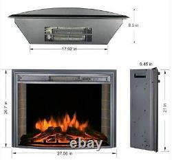 26 Electric Fireplace Insert Curved Screen Stove Heater REALISTIC FLAME EFFECT