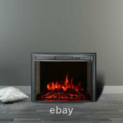 26'' Electric LED Fireplace Curved Glass Display Fire Flame Wall Mounted Heater