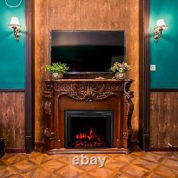 26 Inch LED Curved Glass Electric Fireplace Wall Mounted Fire Place + Remote UK