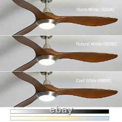 3 Blades 52inch Ceiling Fan with LED Light Remote Control Timer 5 Speed Dimmable