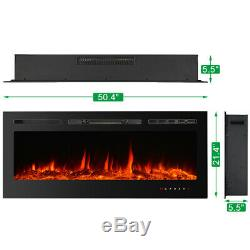 36 50 Adjustable Electric Fireplace Heater Wall Mount 9-Color Flame with Remote