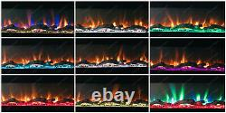 36 Inch 10 Colour Led Black Glass Wall Mounted Flushed Electric Fire Uk 2021