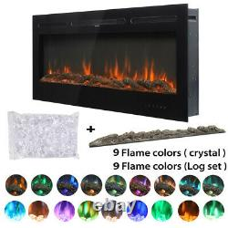 40'' Electric Fireplace Inset/Wall Mounted Fire Heater LED 9 Flame Color +Remote