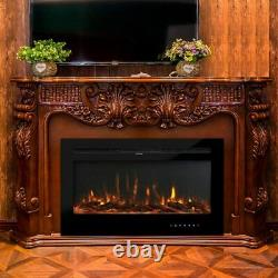 40Electric Fireplace Insert Wall Mount Heater Mount Adjustable 9 Flame withRemote