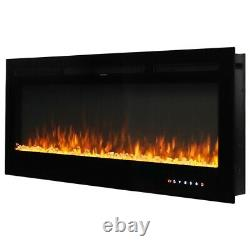40inch Electric Fireplace Insert/Wall Mounted LED Fire Place Crystals/Log Heater