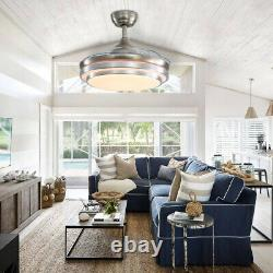 42 Dimmable Light Chandelier 4 Invisible Blades Ceiling Fan with Remote Control