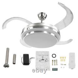 42'' Modern LED Light Ceiling Fixtures Lamp Retractable Blade Fan Remote Control