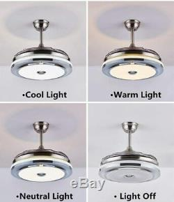 42 Modern Retractable Dimmable Light Remote Control LED Ceiling Fan Lamp