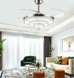 42 Silver Invisible Ceiling Fan Light LED 3-Color Change Crystal Chandeliers