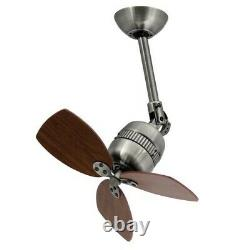 46cm 19 small ceiling fan with wall switch TOLEDO Antique Pewter & Walnut