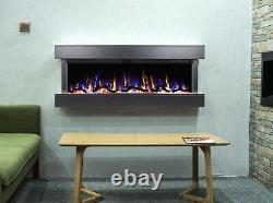 50 55 Inch Led Flames New Mantel Wall Mounted Electric Fire 3 Sided Glass 2021