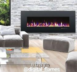 50 60 72 78 Inch Led Digital Flames Black White Inset Wall Mounted Electric Fire