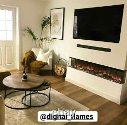 50 60 72 Inch Stunning Panoramic Insert Electric Fire 3 Sided Full Glass Tank