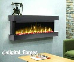 50 Inch Led Digital Flames Black Mantel Wall Mounted Electric Fire 3 Sided Glass