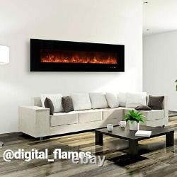 50 Inch Led'digital Flames' Black Insert Wall Mounted Electric Fire 2021