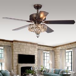 52 Crystal Chandelier Ceiling Fan Unique Antique Tuscan Bronze Light Fixture