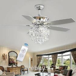 52 LED Ceiling Fan Light Remote Control Timer 3 Speed Chandelier 5 Blade Lamp