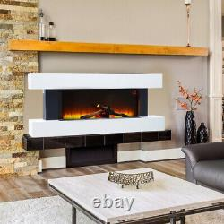 52'' Wall Electric Fireplace Timer Fire Flame Heater MDF Mantel Surround &Remote