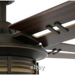 52 in. Mission Ceiling Fan Remote Unique Airplane Blades Oil Bronze Cabin Light