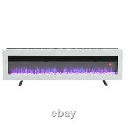 60inch Electric Fireplace LED Flames Fire Heater Inset Wall/Freestanding White