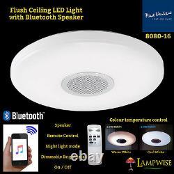 8080-16 Flush Ceiling LED Light Bluetooth Speaker Remote Control Brightness