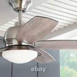 Ackerly 52 in. Integrated LED Indoor/Outdoor Brushed Nickel Ceiling Fan