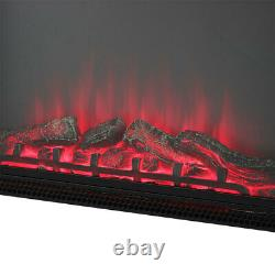 Black 28'' Electric Fire Fireplace LED Flame Effect Burning Wall Insert/Standing