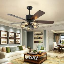Ceiling Fan Rustic Edison Industrial With Cage Light With Remote Control