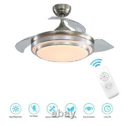 Ceiling Fan With Dimmable LED Light Remote Control Lamp Lighting Wind Speed UK