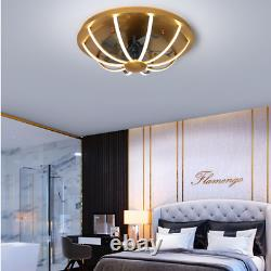 Ceiling Fan With Light LED Lamp Dimmable Remote Control Modern Bedroom Gold