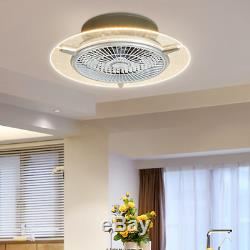 Ceiling Fan With Light LED Lamp Dimmable Remote Control Modern Room Transparent