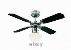 Ceiling fan light with pull chain Westinghouse Portland Ambiance Chrome 90cm 36