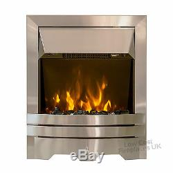 ELECTRIC SILVER FLAT FLUSH WALL REMOTE PEBBLE COAL 2kW LED FIRE FREESTANDING