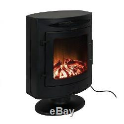 Electric 2kW Portable Stove Heater Fireplace in Black with Remote Control