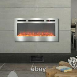 Electric 36 40 50 60 Wall Mounted Inset Into LED Fireplace Wall Fire Heater