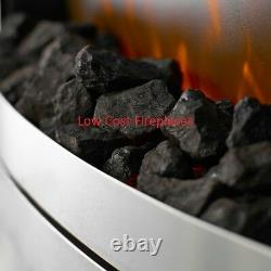 Electric Brushed Silver Pebble Coal 2kw Insert Inset Remote Control Led Fire