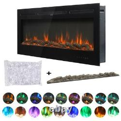Electric Fire 50 Inch LED Insert Wall Hung 9 Colours Flame with Remote Control