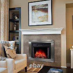 Electric Fire Fireplace Widescreen Tempered Glass Wall Heater LED Flame Effect