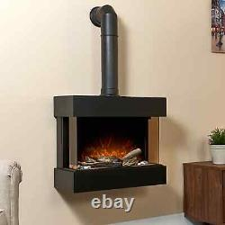 Electric Fireplace 3D Flame LED Light Wall Mounted Quiet Heater Remote Control