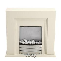 Electric Fireplace Fire Freestand MDF White Surround Led Light Flame Living Room