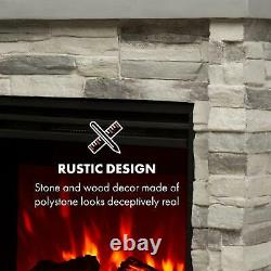 Electric Fireplace Heater Wall Mounted Free Standing Glass 1800W Remote Grey