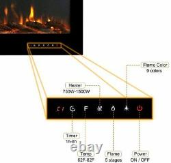 Electric Fireplace Insert Wall Mount Heater Mount Adjustable Flame 40Inch Black
