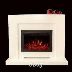Electric Modern Cream Ivory Surround Black Fire Remote Logs Fireplace Suite 48