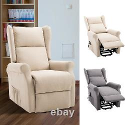 Electric Power Rise Linen Fabric Recliner Armchair Functional with Remote Control